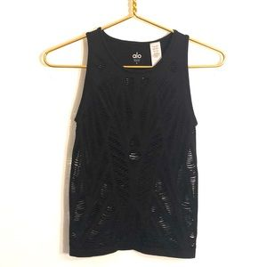 [alo] Black Cut Out Stretch Tank Top - Size Small